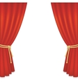 Realistic red velvet curtain vector image