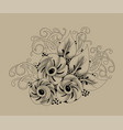 abstract monochrome floral background vector image vector image