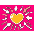 arrows point to icon of heart on pink bac vector image vector image