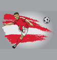 austria soccer player with flag as a background vector image vector image