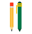 ballpoint and eraser pencil icon flat isolated vector image vector image