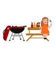 barbecue picnic and a girl eating a sausage vector image