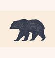 bear silhouette vintage logo retro print vector image