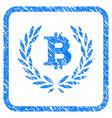 bitcoin laurel wreath framed stamp vector image vector image