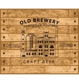 brewery building against wooden planks vector image vector image