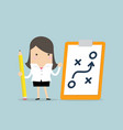 businesswoman holding pencil and paper of planning vector image
