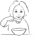 child eating - black outline vector image vector image