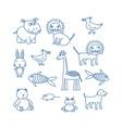 childrens doodle animals set hippopotamus lion vector image