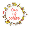 coffee flat line collection drink decorative icons vector image vector image
