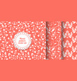 collection of seamless coral pink floral patterns vector image