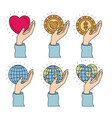 color image set hands holding a earth world and vector image