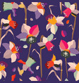colorful daffodils stylized seamless pattern vector image