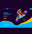crm isometric business landing page with vector image