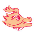 cute head orange dragon animal mythologica vector image