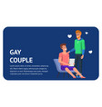 gay couple happy together flat landing with heart vector image