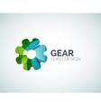 Gear logo design made of color pieces vector image