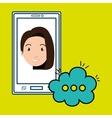 girl cartoon smartphone cloud chat vector image vector image