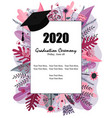 graduate class 2019 caps and flowers on a vector image vector image