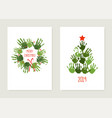 handprint christmas tree with red star handprint vector image