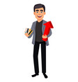 handsome business man cartoon character vector image