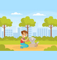 happy boy with cute cat in box child walking in vector image
