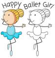 happy doodle girl dance vector image vector image