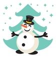Happy snowman cartoon icon vector image vector image
