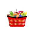 market shopping basket full food and drink vector image