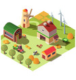 modern organic farm ranch yard isometric vector image