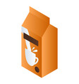 orange milk package icon isometric style vector image vector image