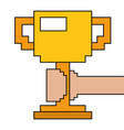 pixelated hand holding trophy cup game vector image