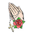 praying hands with chain and big cross tattoo vector image