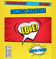 romantic comics magazine template vector image vector image