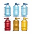 set blue big plastic bottles vector image