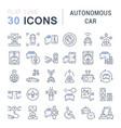 set line icons autonomous car vector image vector image