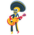 skeleton playing guitar day dead mexican vector image vector image