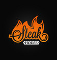 steak logo flame vintage lettering grill fire on vector image