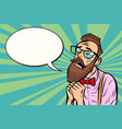 stylish bearded hipster with glasses crying and vector image vector image