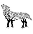 tree-wolf vector image
