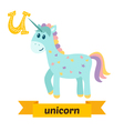 Unicorn U letter Cute children animal alphabet in vector image vector image