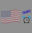 united states flag mosaic buzzer and distress vector image vector image