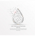 water droplet form low poly wire frame on white vector image vector image