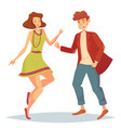 woman jumping at dancefloor and man dancing vector image vector image