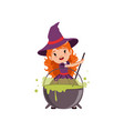 little red-haired girl witch preparing a potion in