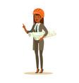 architect woman in orange safety helmet standing vector image vector image