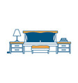 bed with nightstand color section silhouette on vector image vector image