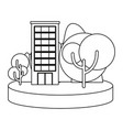 building in the landscape outline vector image