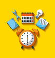 business clock alarm time tool work efficiency vector image