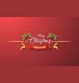 christmas decoration on red background vector image vector image