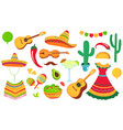 cinco de mayo a large set decorative elements vector image vector image